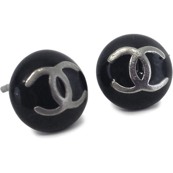 6fce2af4a6 Pre-owned Chanel- Black & Silver CC Stud Earrings ($225) ❤ liked on ...