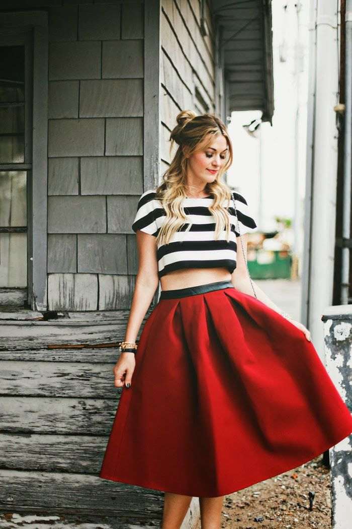Midi, Crop Top, Stripe Crop, Crop, Stripes, Midi, Full Skirt ...
