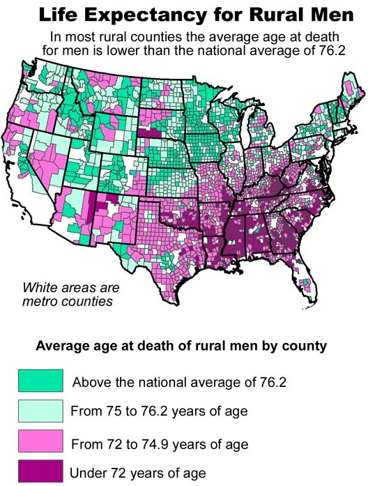 Male Life expectancy in rural america. Minnesota stands ...