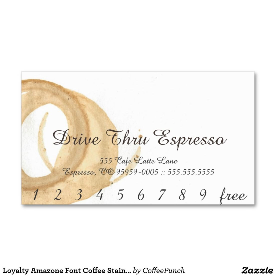 Loyalty Amazone Font Coffee Stain Punchcard Business Card | Business ...
