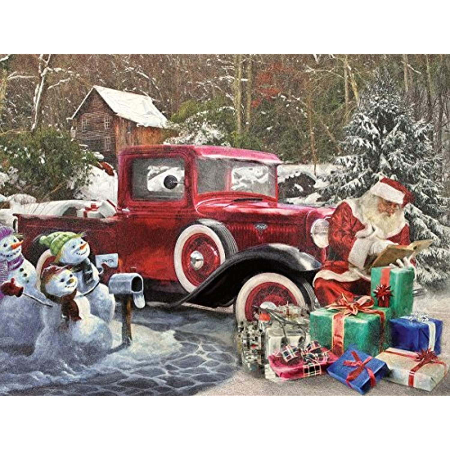 White Mountain Puzzles Santa and Truck 1000 Piece Jigsaw