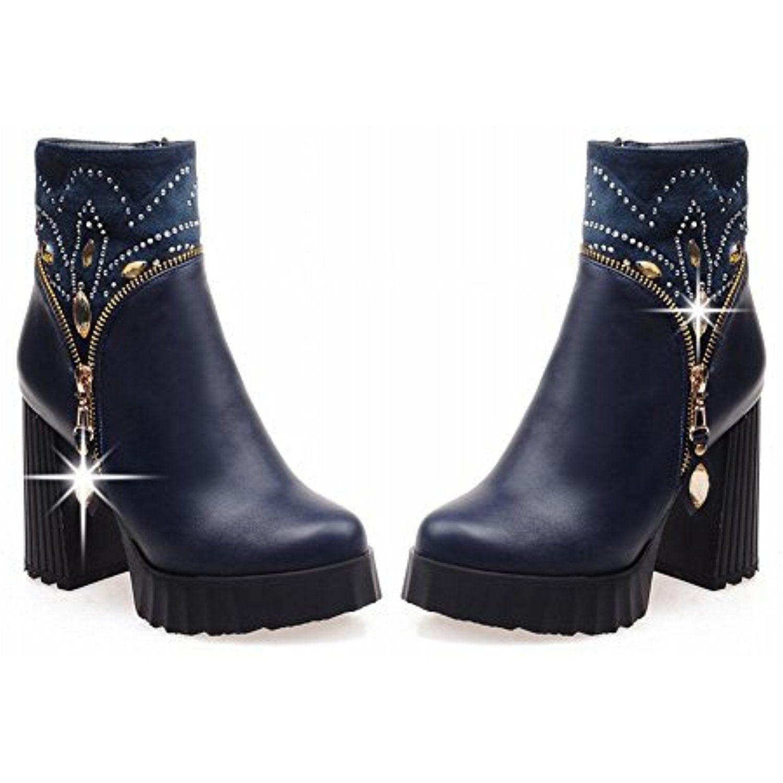 Women's Fashion Platform High Chunky Heel Zipper Ankle Boots