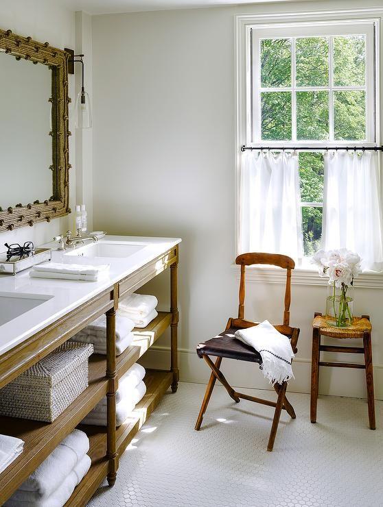Restoration Hardware Weathered Oak Double Washstand In Brown Oak Topped  With Caesarstone Pure White Quartz · Master Bathroom VanityMaster ...