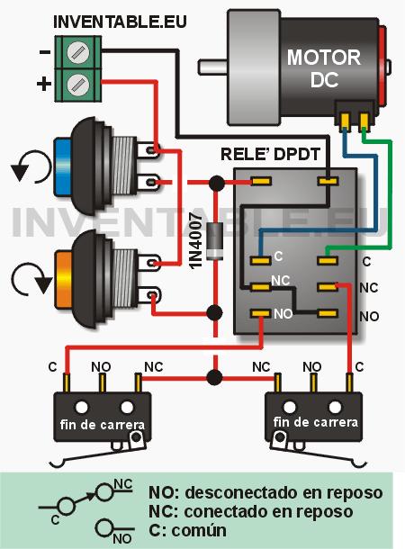 Kétirányú vezérlés egy DC motor relé és végálláskapcsolók
