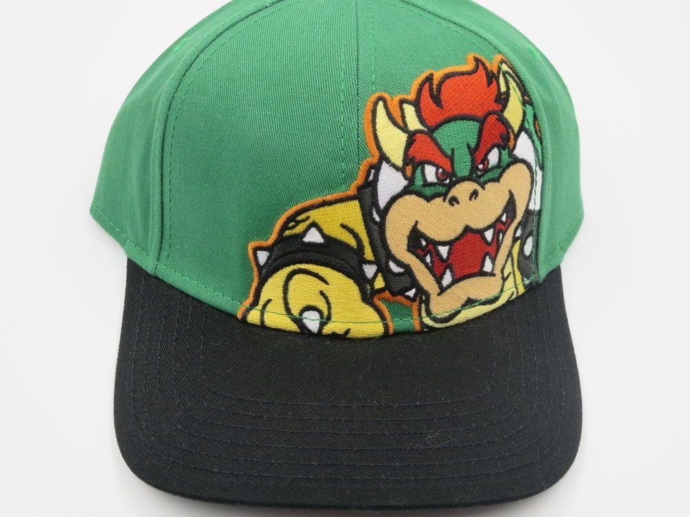 Nintendo Super Mario Bowser Green Bioworld Youth Childrens Size Snapback Hat  #Bioworld #BaseballCap  #Nintendo Super Mario Bowser