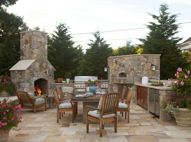 Gartenküchen Ideen - Google-suche | Pond Camp | Pinterest | Münzen ... Gartenkamin Bauen Ideen Terrasse