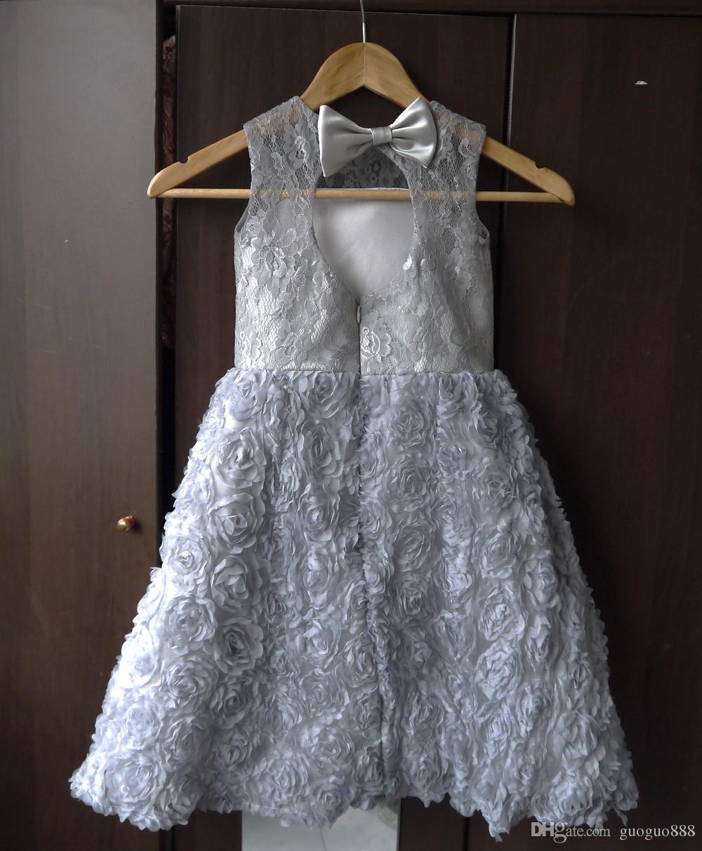 Greyflowergirldressesforweddingsprincess baby girl stuff