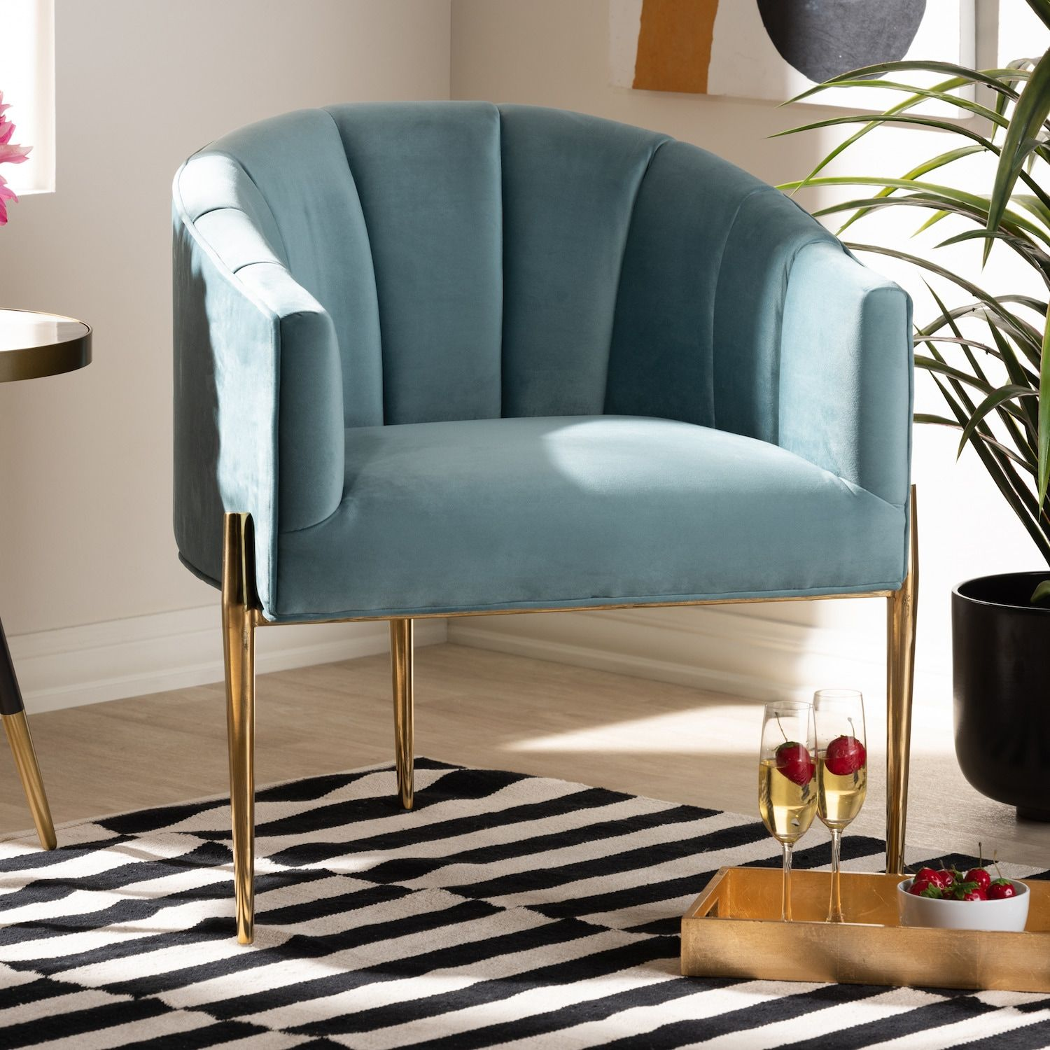 Baxton Studio Clarisse Blue Chair in 2020 Fabric accent