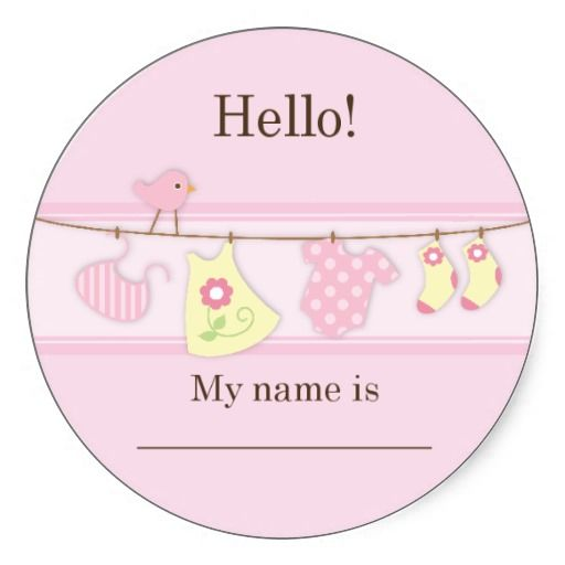 Marvelous Pink Bird On A Clothesline Baby Shower Name Tag Sticker