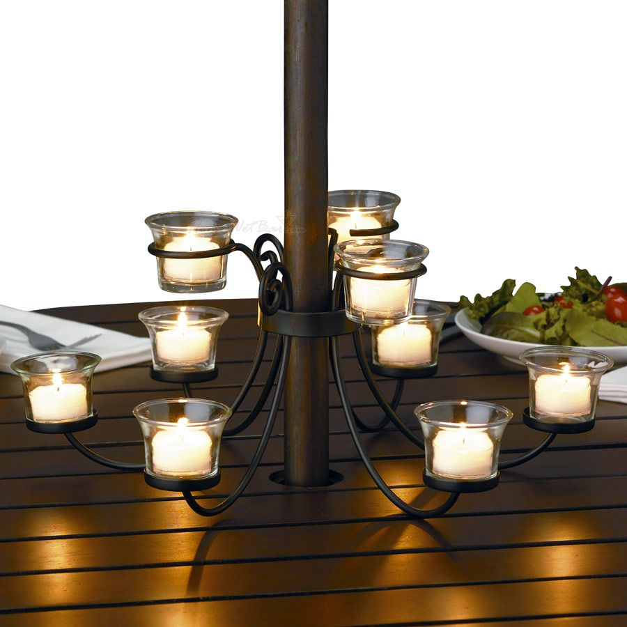 I Ve Been Wanting To Add An Outdoor Candelabra Our Patio Table Chandelieroutdoor Candlespatio