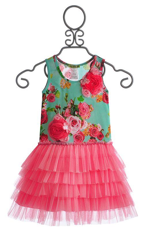 Little Mass Mint Rose Girls Tutu Dress | Designer Toddler Clothes ...