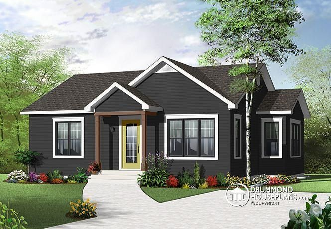 W3114 affordable 2 bedroom beautirul bungalow with large for Affordable bungalow house plans