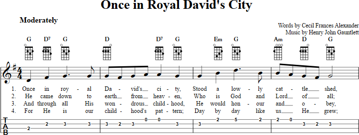 Once in Royal David\'s City sheet music for ukulele with chords ...