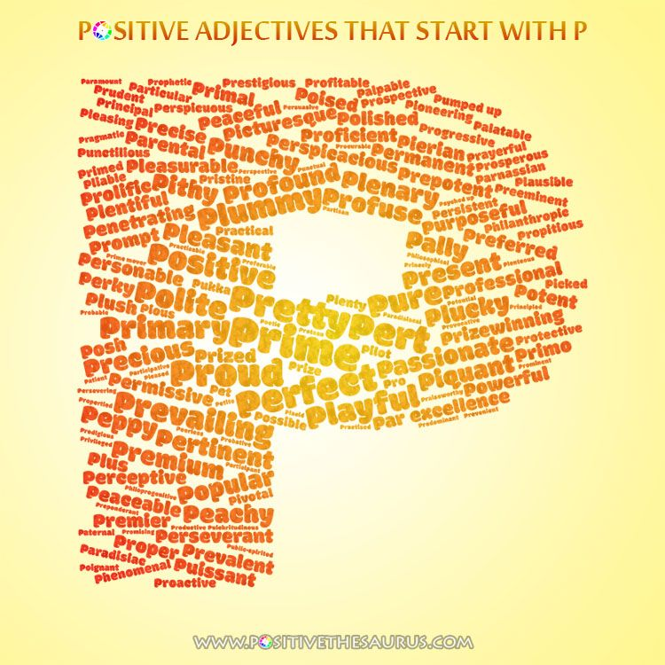 Perfect list of positive adjectives starting with P wordcloud