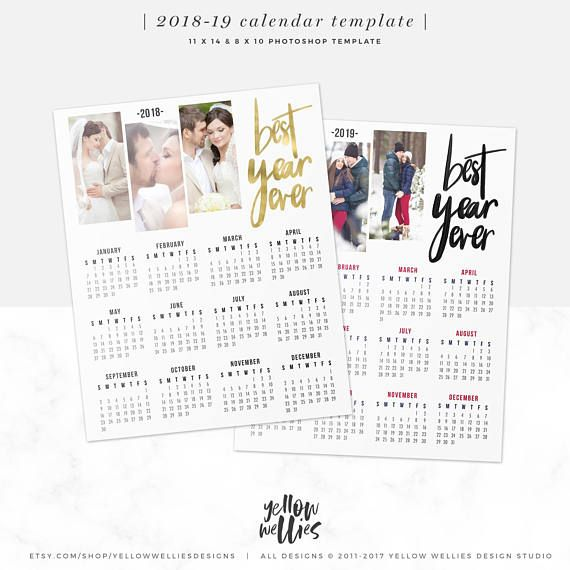 2018 2019 Calendar Template Photo Collage Photoshop Template