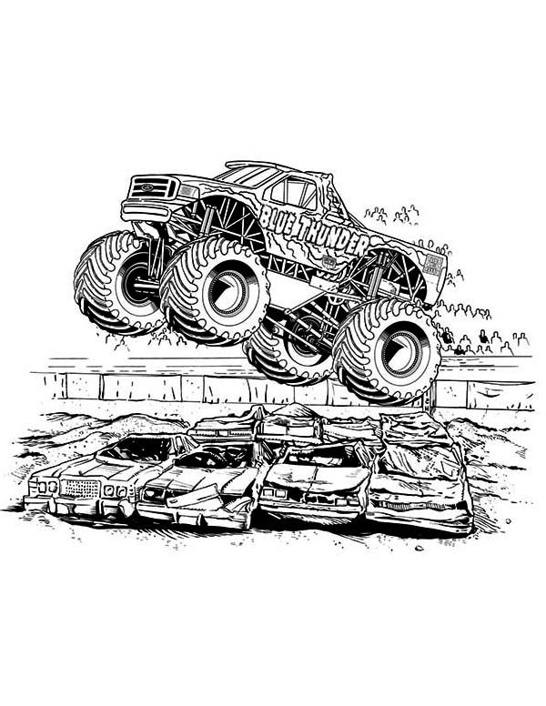 monster truck blue thunder monster truck coloring page