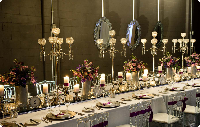 Baroque banquette table setting with chandelier table l&s candlelights and hanging Victorian mirrors. & Event Styling.   Fine Dining   Pinterest   Victorian mirror ...