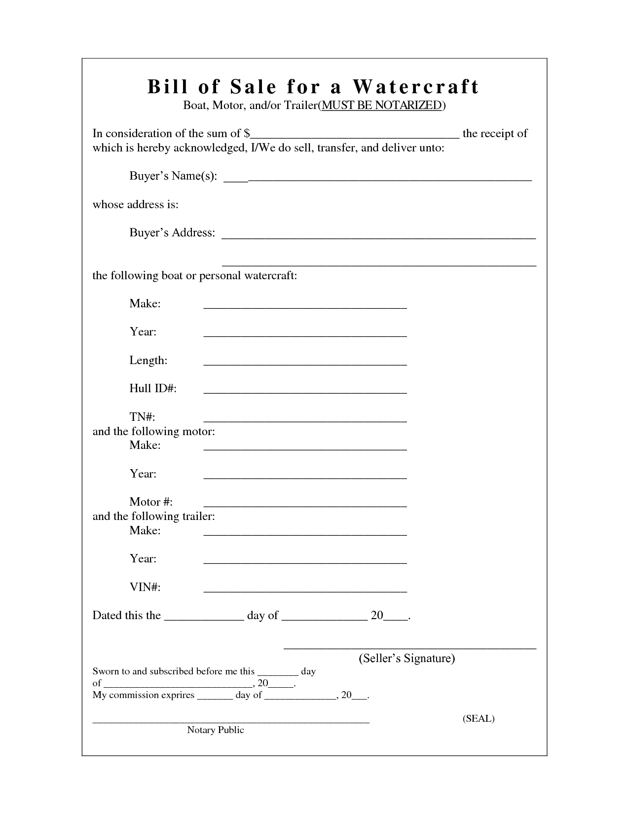 Printable Sample Champer Bill Of Sale Form  Laywers Template Forms