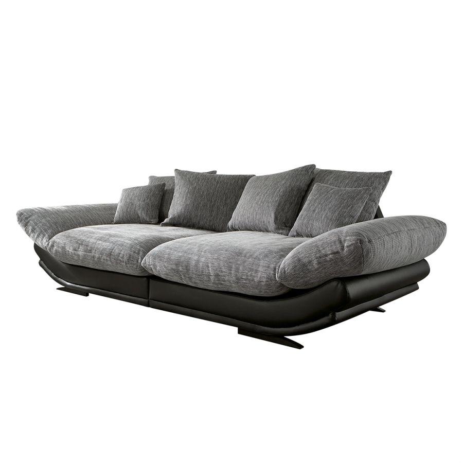 Grand canapé Tender Cuir synthétique noir Tissu gris clair