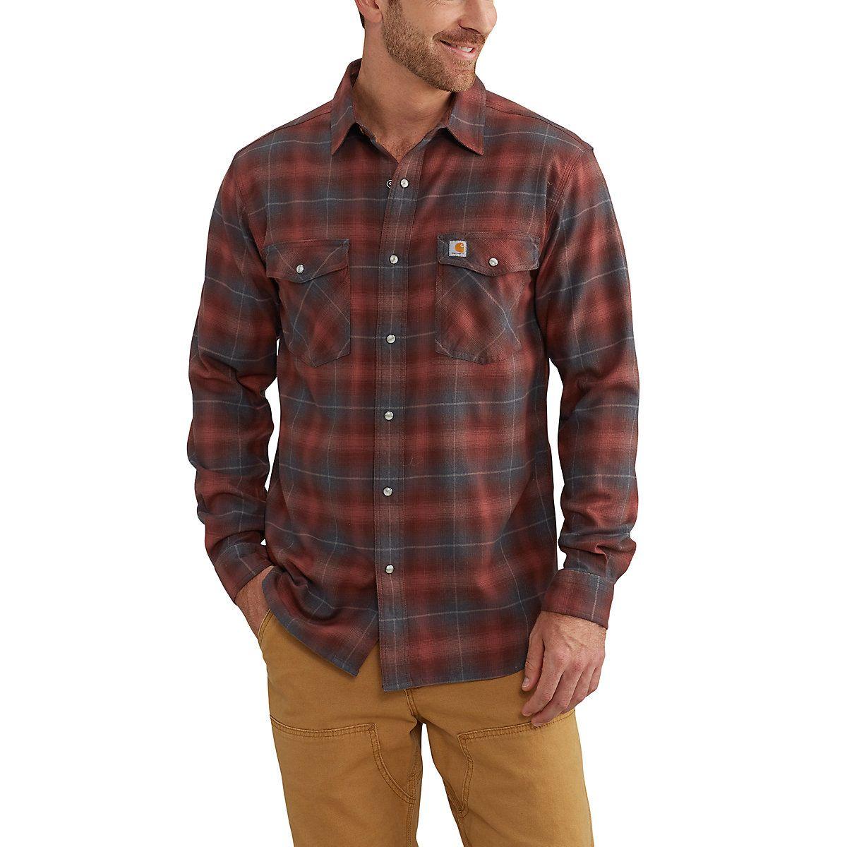Orange flannel jacket  Menus RelaxedFit Stretch Long Sleeve Shirt  Utilitarian Fashion