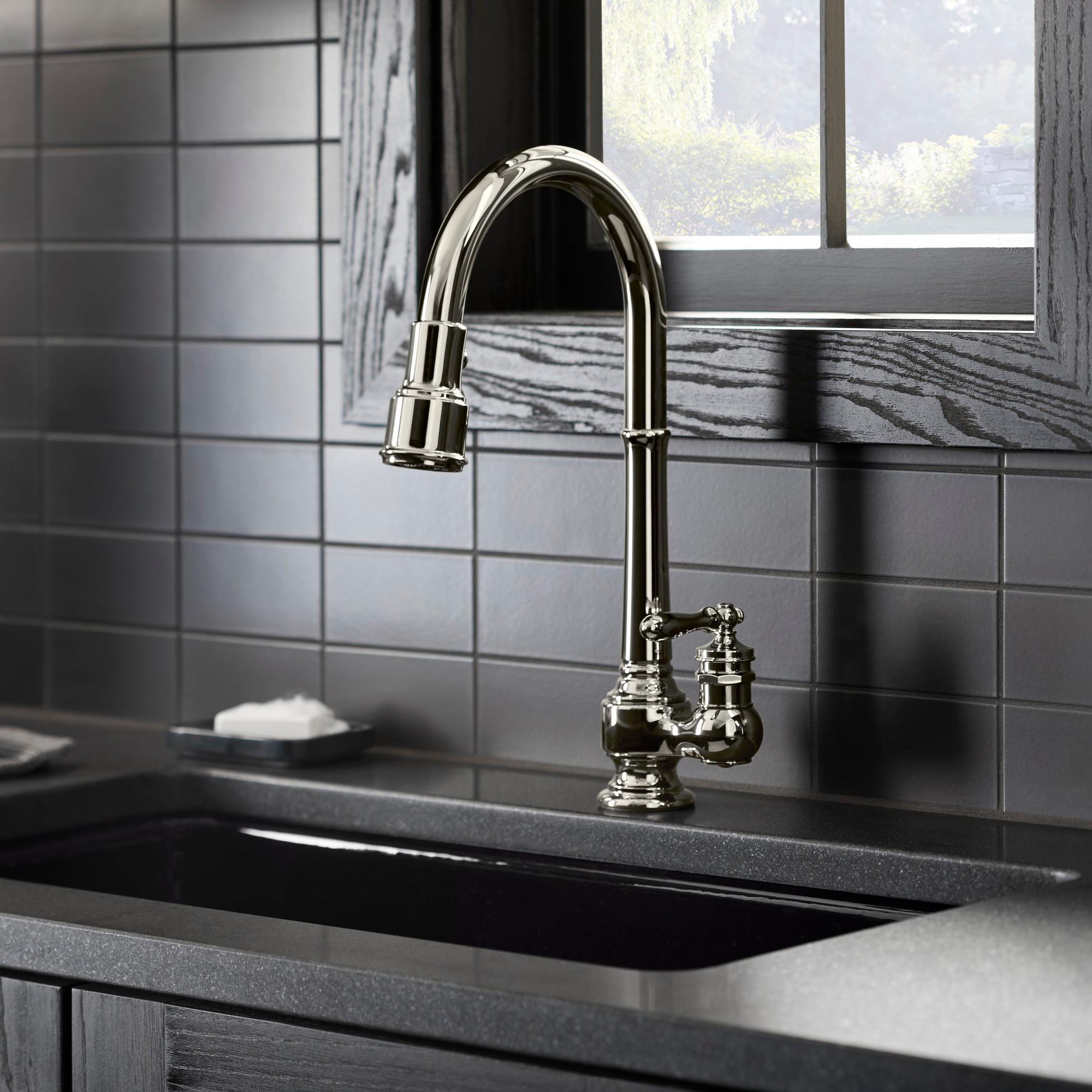 KOHLER K-99261-CP Artifacts Single-Hole Kitchen Sink Faucet ...