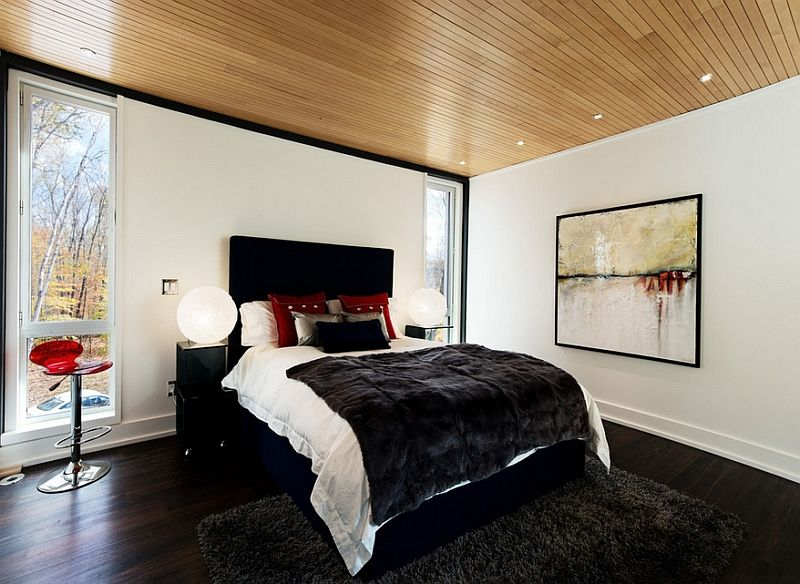 bold black and white bedrooms with bright pops of color - Bold Bedroom Colors
