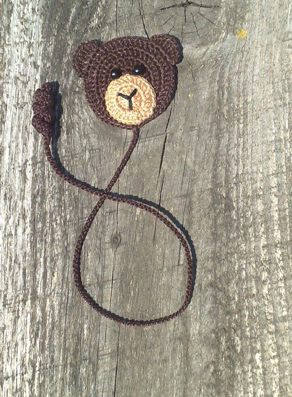 Crochet Bookmark Crochet brown bear Homemade gifts от ElenaGift #bears