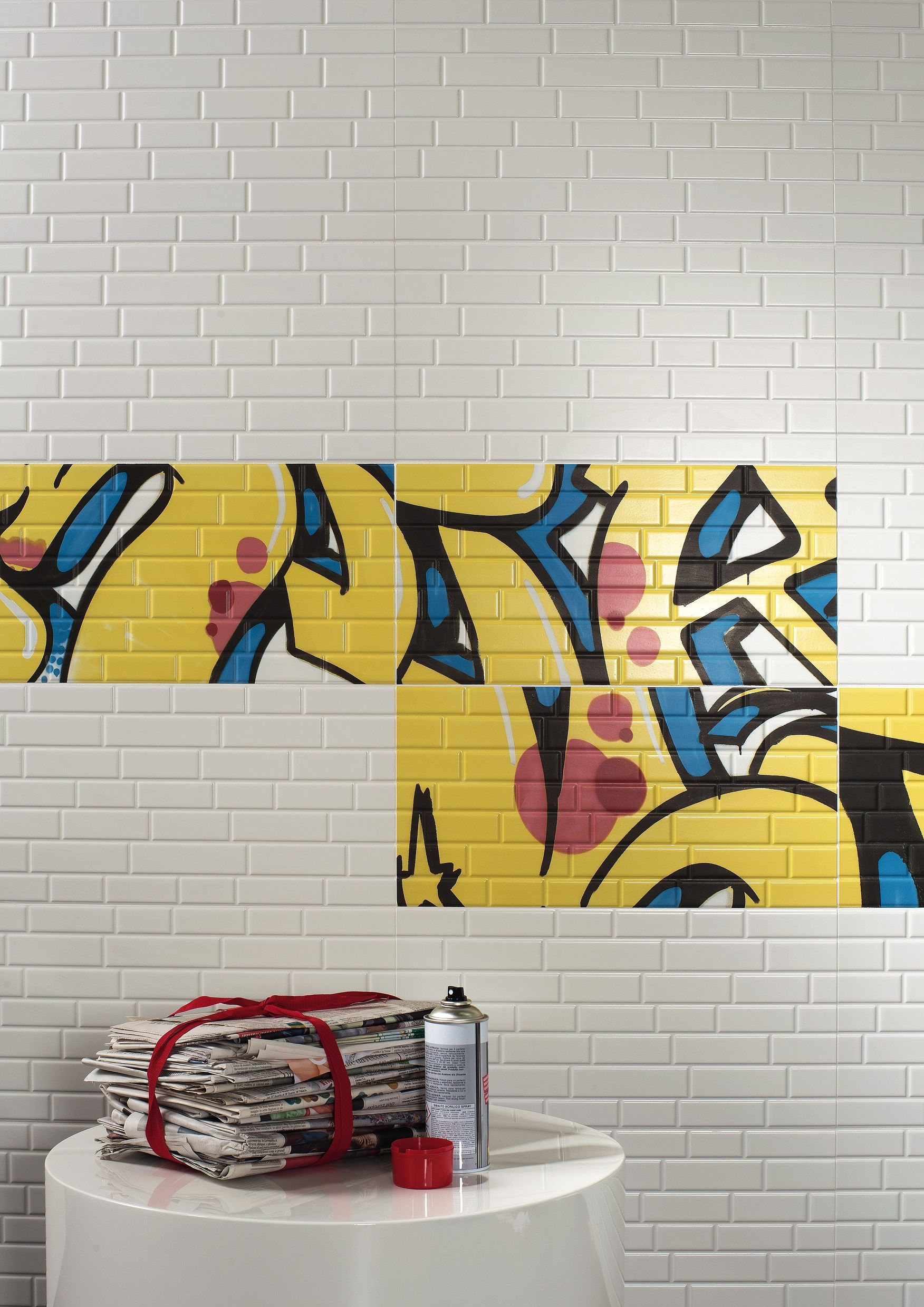 Be Bold with modern graffiti art tiles in bright colours mixed with ...