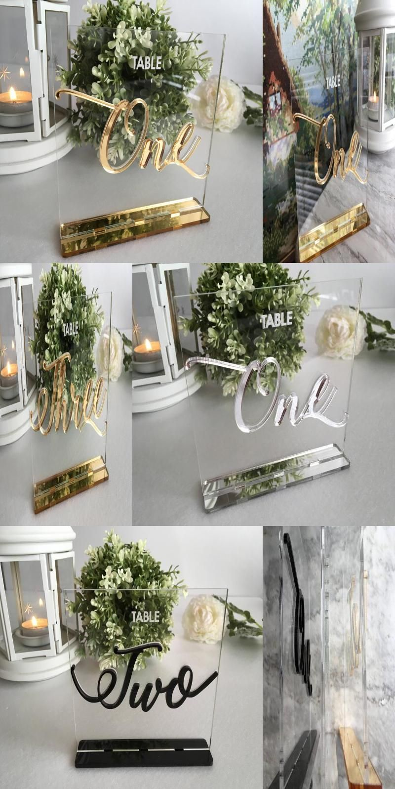 Wedding Table Numbers Calligraphy Gold Mirror Clear