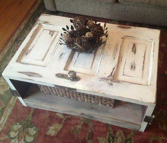 Coffee Table Made Out Of Old Door