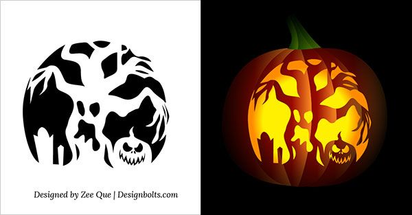 10 Free Printable Scary Pumpkin Carving Patterns Stencils Ideas 2017