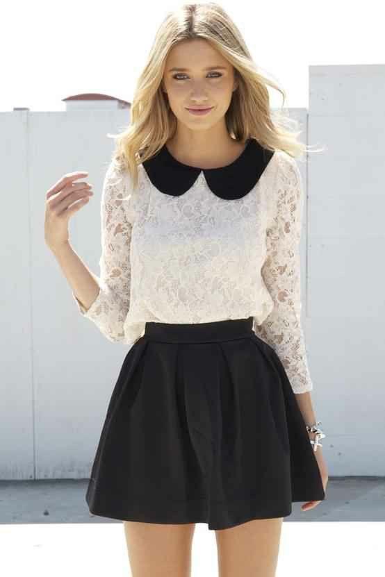 Blusa Cuello Bebe Y Falda Media Campana Fashion Style Outfits