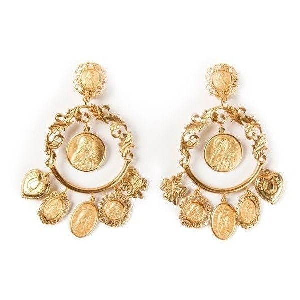 Dolce Gabbana Dropped Loop Earrings Liked On Polyvore Featuring Jewelry