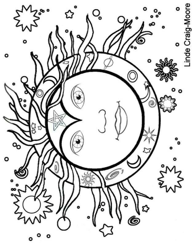 Pin By Stina On Hippie Coloring Pages Moon Coloring Pages Sun Coloring Pages Coloring Pages