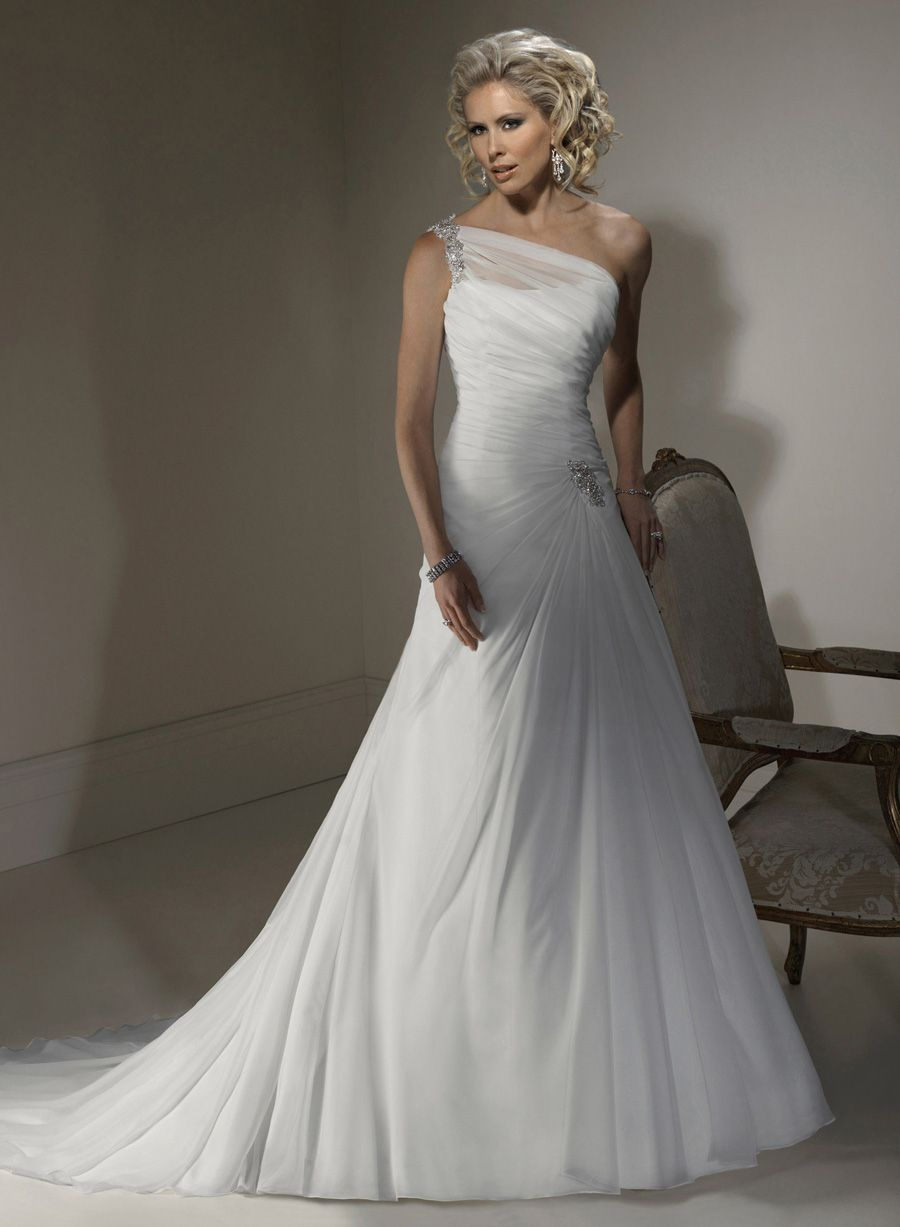 One Shoulder A Line Beaded Embellishments Designer Wedding Dress