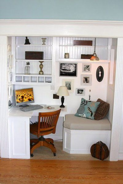 Corner table home office Closet turned office with reading nook