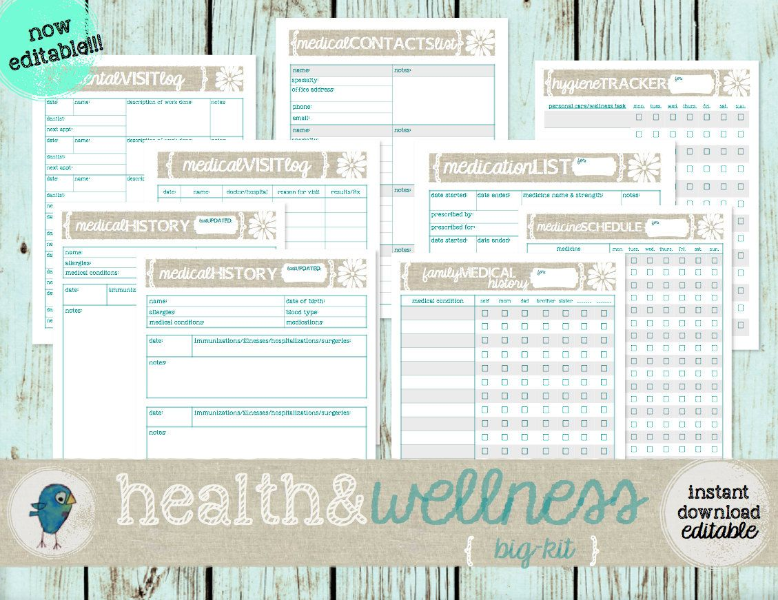 Printable Health Wellness Kit Medical History Dental And