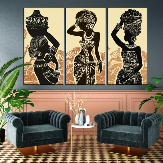Beige And Black African Woman Etnic Dresses African Traditional Accessories Afro Colors African Style Drawing Effective African Girls Canvas African Wall Art African Inspired Decor African Decor Living Room