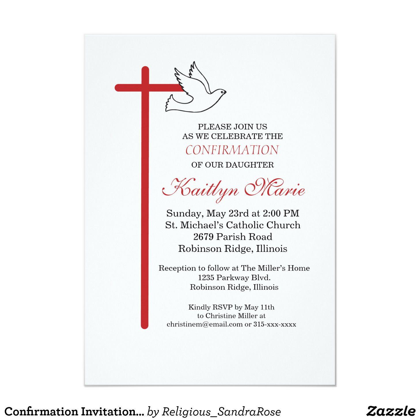 Confirmation Invitation Red Cross Amp Dove On White