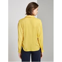 Photo of Tom Tailor women's blouse with V-neck, yellow, plain, size 42 Tom TailorTom Tailor