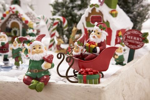 "Christmas Santa Sleigh for Fairy Garden Gnome Elves ~ 3"" tall, Holiday - Cottage Chicks"