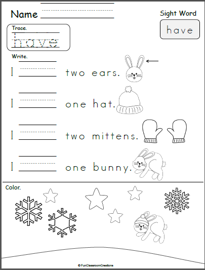 free kindergarten winter sight word writing have kindergarten january sight words sight. Black Bedroom Furniture Sets. Home Design Ideas