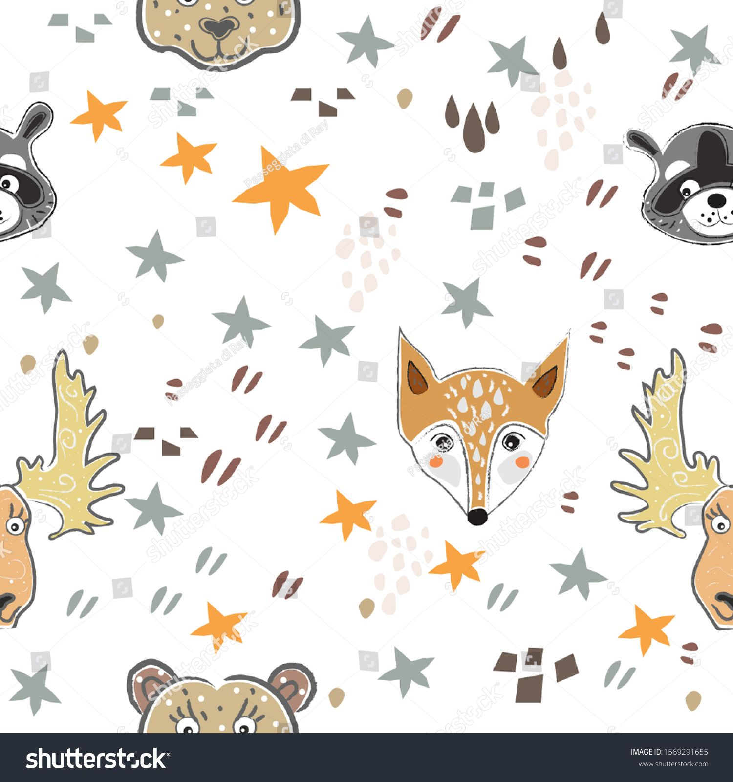 Seamless Fox Pattern With Cute Heads Of Animals Stars And Abstract Shapes Cute Scandinavian Style Ad Spon In 2020 Fox Pattern Stock Illustration Abstract Shapes