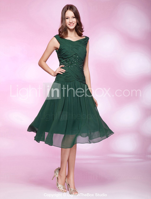 A-line Bateau Tea-length Chiffon Cocktail Dress | A - My Style ...
