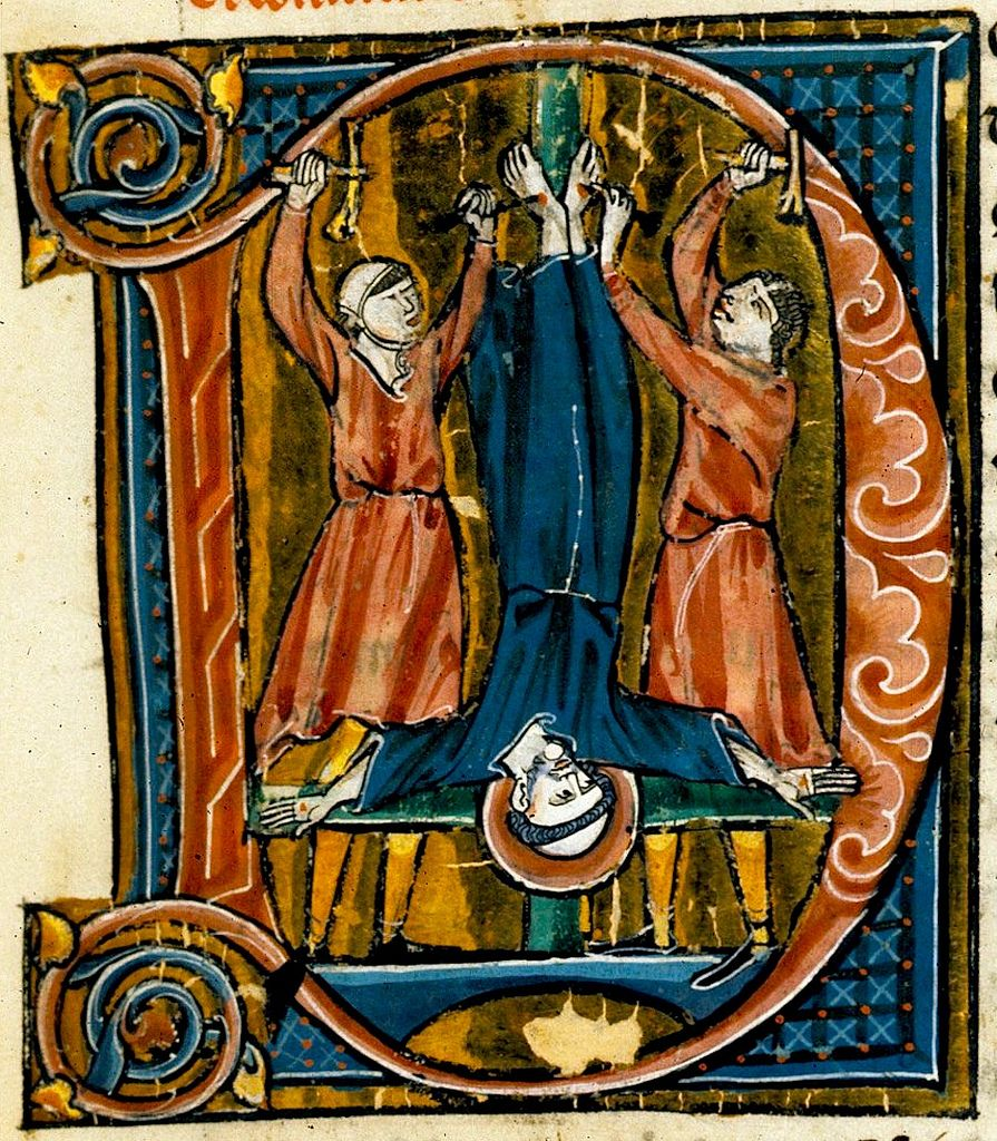"Martyrdom of Peter.  initial ""D"". France 13th cent. Royal D Brit. Lib. 