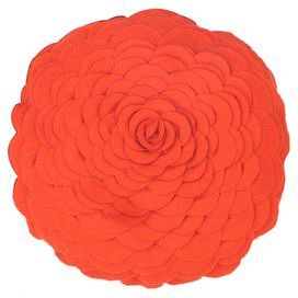 "Felt applique pillow with a floral silhouette.   Product: PillowConstruction Material: Felt cover and polyester fillColor: CoralFeatures:  Insert includedHidden zipper closureApplique, piecing and cut-out details Dimensions: 14"" DiameterCleaning and Care: Machine washable in cold water on gentle cycle. Lay flat to dry."