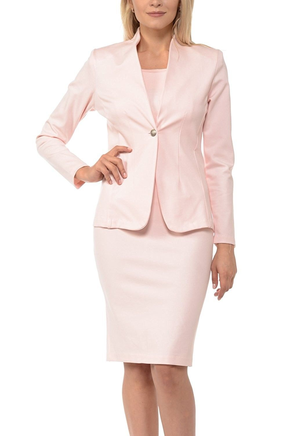 Womens Solid Long Sleeve Blazer And Bodycon Dress Suit Sets Blush