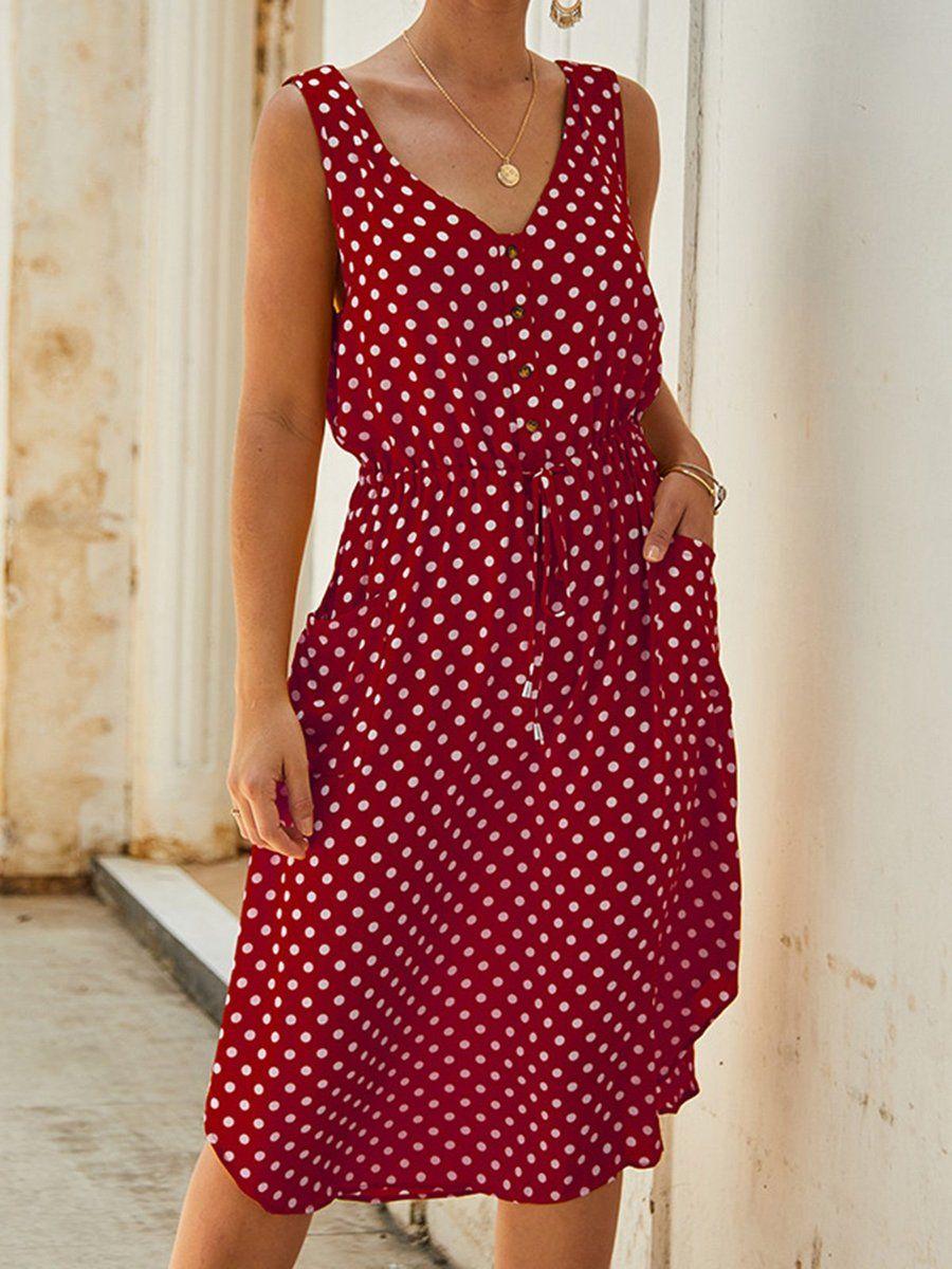 V Neck Women Summer Dresses Holiday Pockets Dresses Summer Dresses For Women Womens Dresses Dot Print Dress [ 1200 x 900 Pixel ]