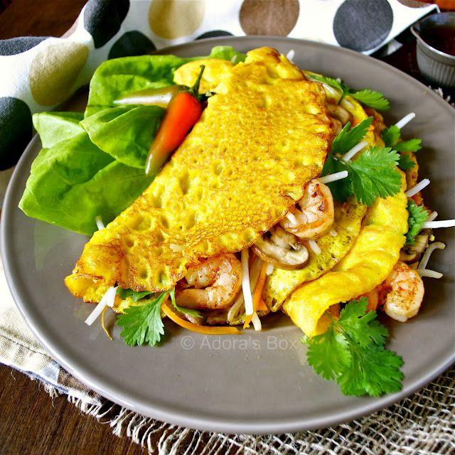 Vietnamese style pancake and lettuce wraps.