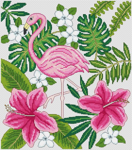 Flamingo and flowers cross stitch chart